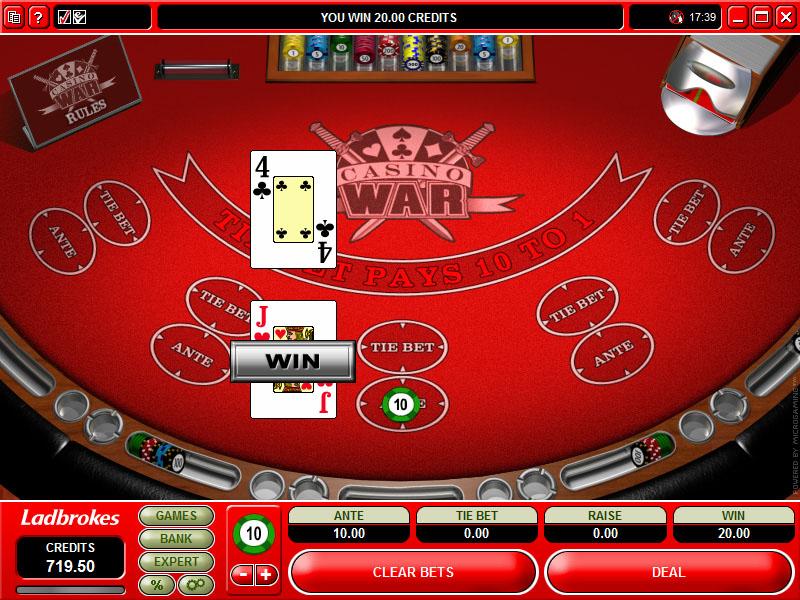casino war winning strategy